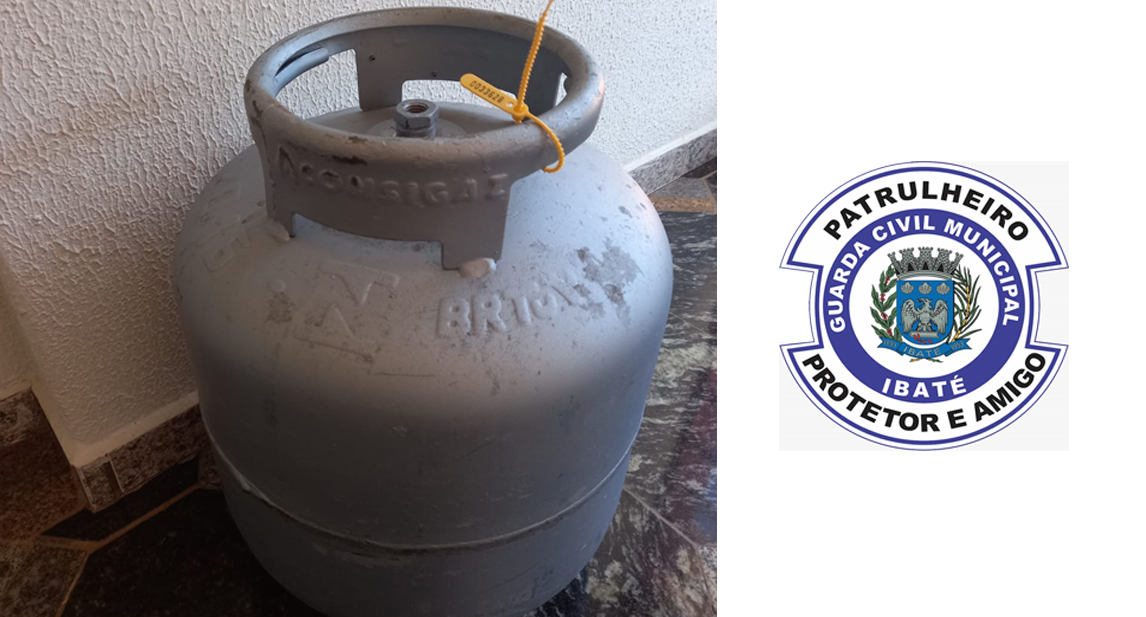 """IBATÉ-Guarda Municipal detém rapaz que alega ter """"achado"""" Botijão de gás próximo a caçamba de lixo"""